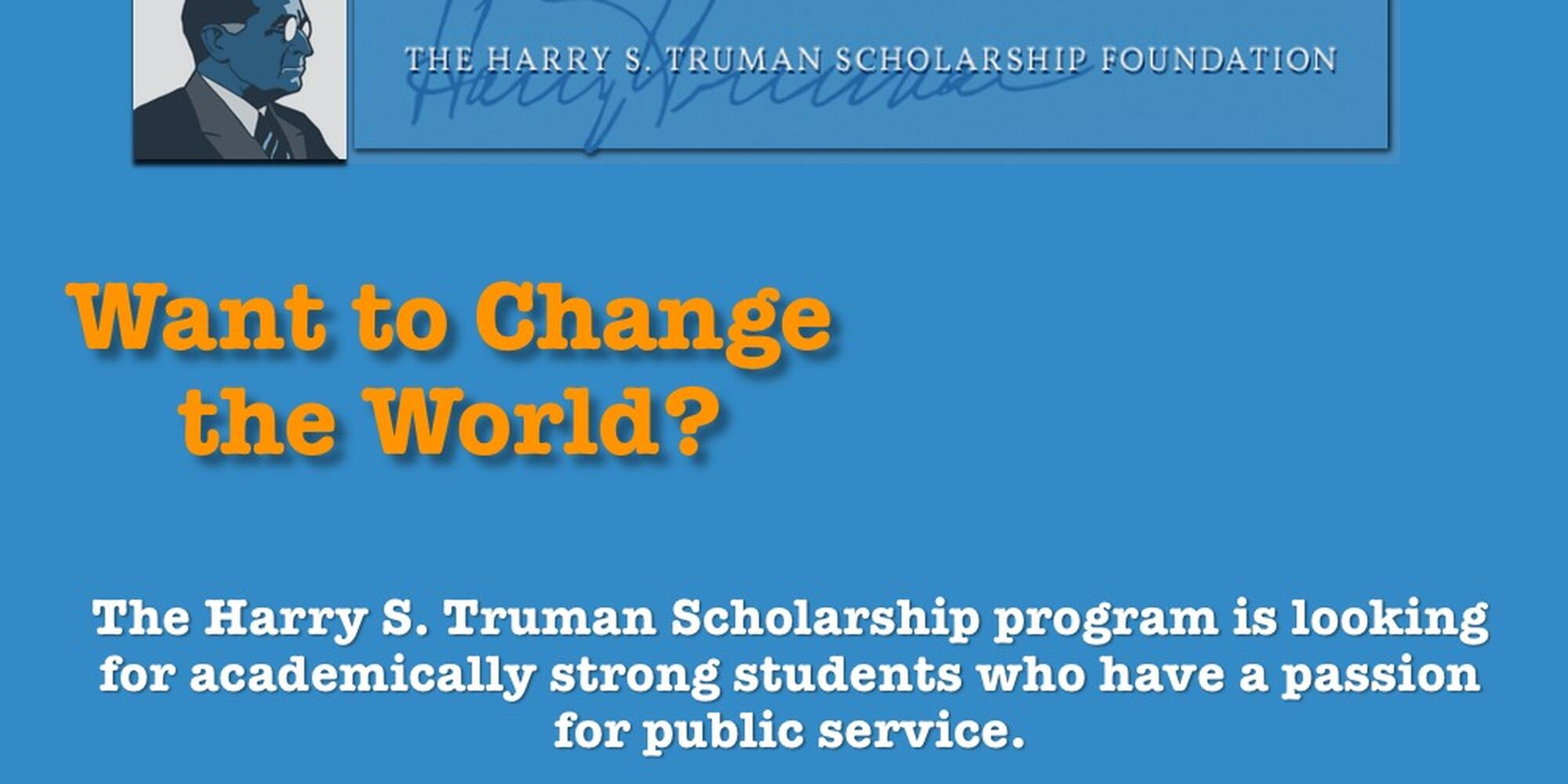 Text with scholarship summary and picture of president Truman