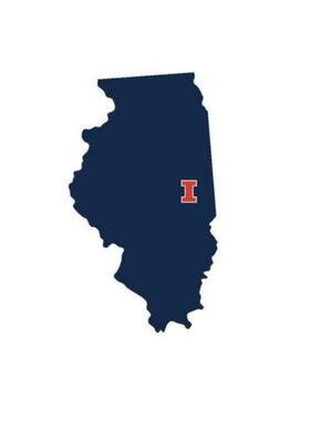Blue Illinois State with U of I letter logo on right side