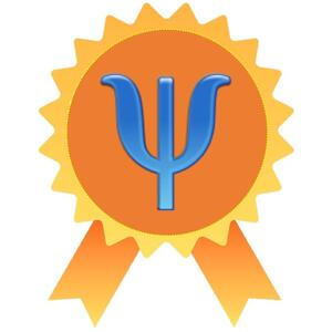 The letter Psi on an stylized award ribbon
